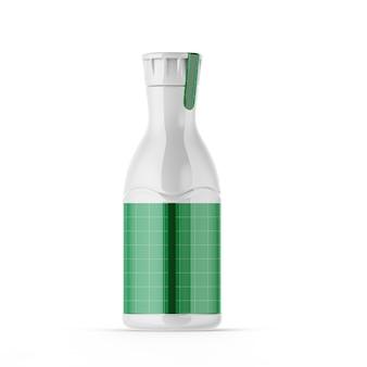 Maqueta de botella de plástico brillante