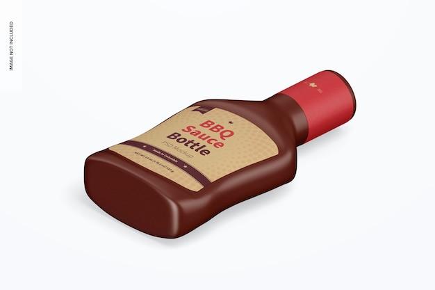 Maqueta de botella de salsa barbacoa, vista isométrica