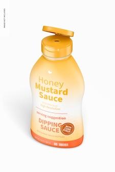 Maqueta de botella de salsa de mostaza y miel de 12 oz, vista isométrica izquierda