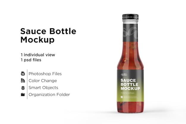 Maqueta de botella de salsa de tomate aislado