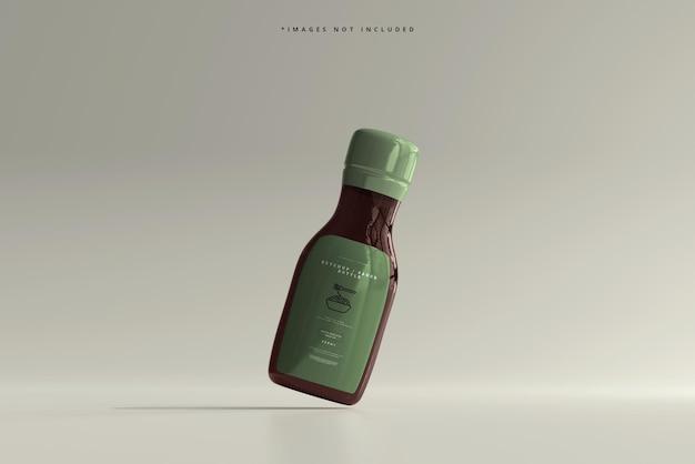 Maqueta de botella de salsa de tomate o salsa