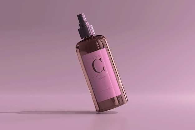 Maqueta de botella de spray cosmético de vidrio ámbar