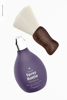 Maqueta de botella de spray de polvo de barbero flotante