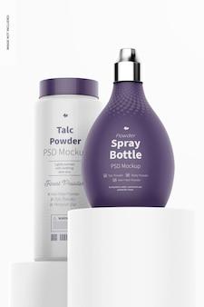Maqueta de botella de spray de polvo de barbero en podios
