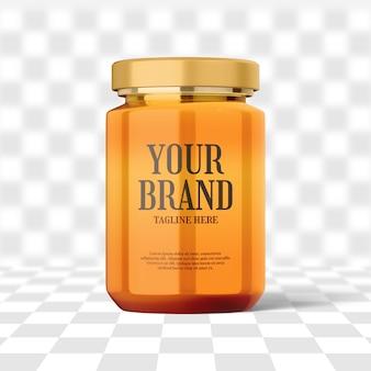Maqueta de botella de tarro de miel de vidrio