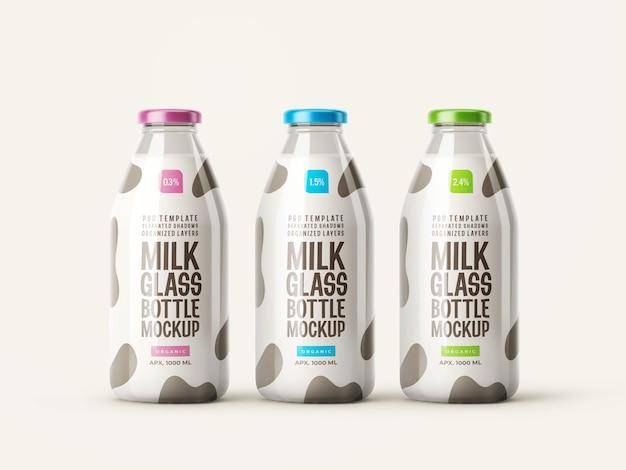Maqueta de botella de vidrio de leche fresca