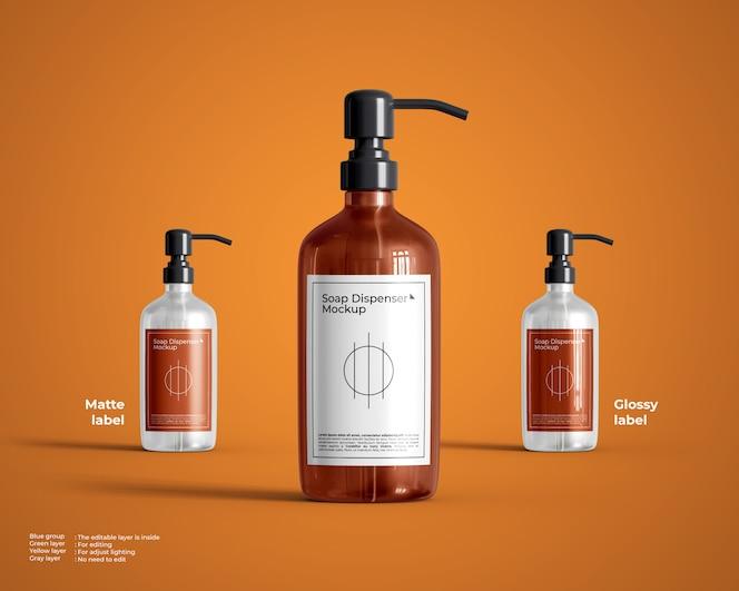 Maqueta de botella de vidrio redonda con dispensador de jabón