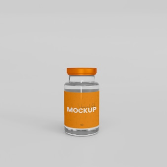 Maqueta de botella de vidrio para vacuna 3d