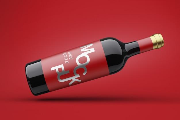 Maqueta de botella de vino 3d