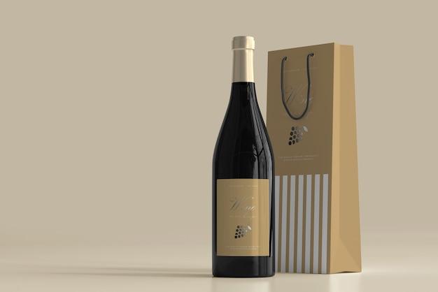 Maqueta de botella de vino con bolsa