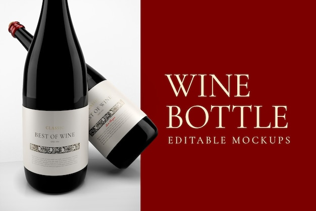 Maqueta de botella de vino psd, diseño elegante editable