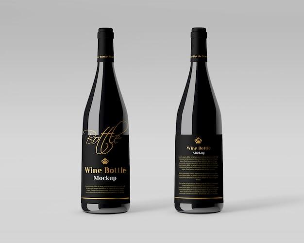 Maqueta de botella de vino realista