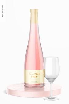 Maqueta de botella de vino rosado, vista frontal