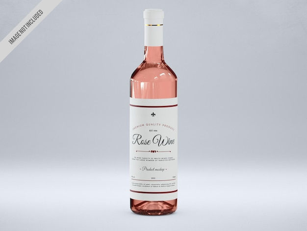 Maqueta de botella de vino rosado