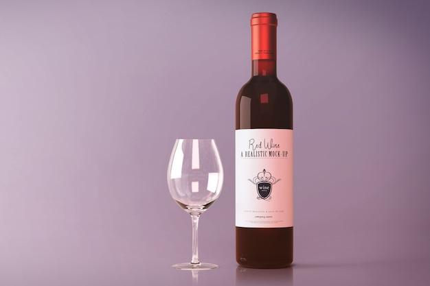 Maqueta de botella de vino tinto