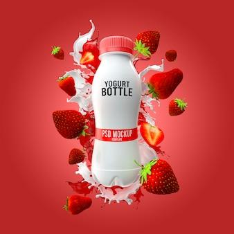 Maqueta de botella de yogur con salpicaduras de leche y fresa render 3d