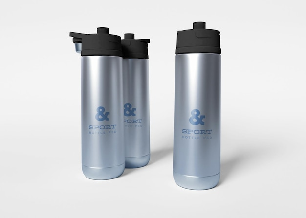 Maqueta de botellas de agua deportivas