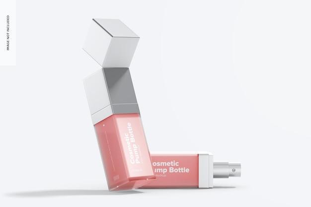 Maqueta de botellas de bomba cosmética, inclinada