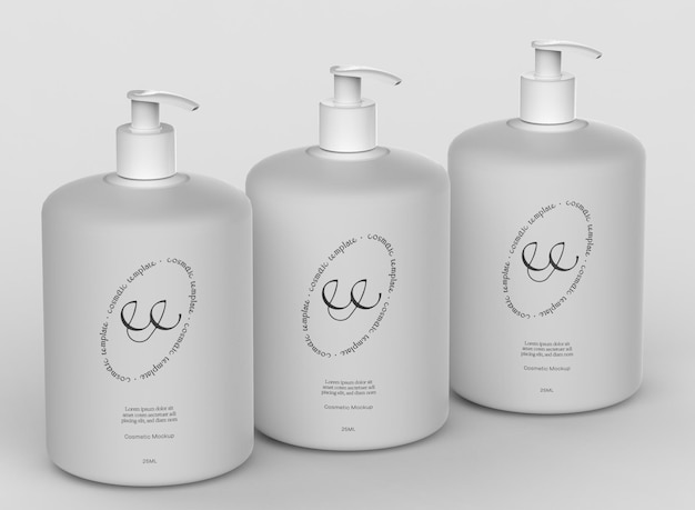 Maqueta de botellas de bomba cosmética