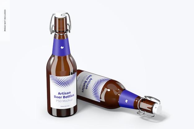 Maqueta de botellas de cerveza artesanal