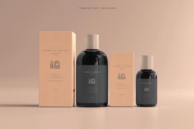 Maqueta de botellas cosméticas con cajas