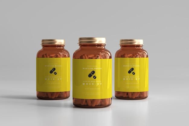 Maqueta de botellas de medicina ámbar
