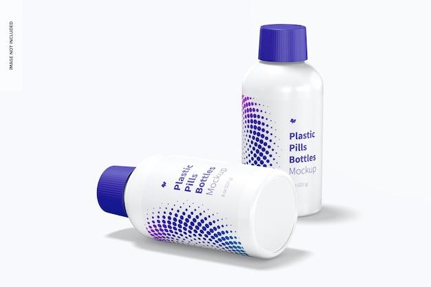 Maqueta de botellas de pastillas de plástico