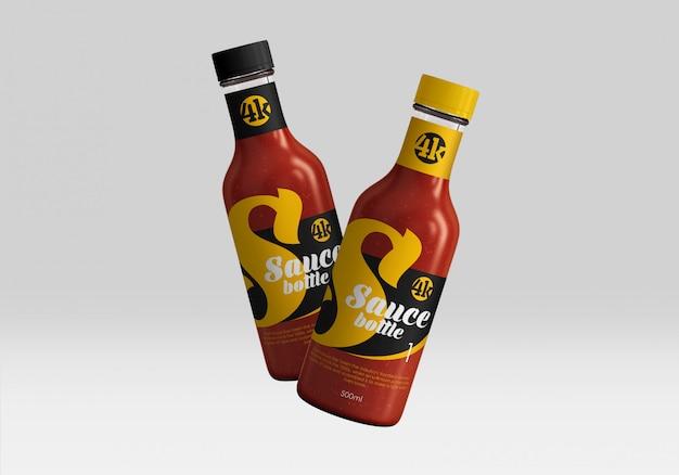 Maqueta de botellas de salsa de tomate de vidrio