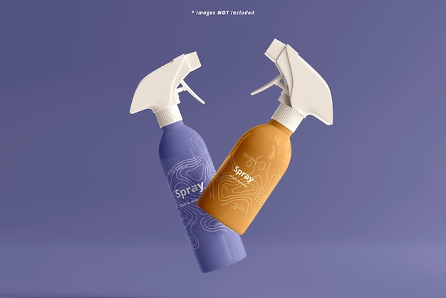 Maqueta de botellas de spray cosmético