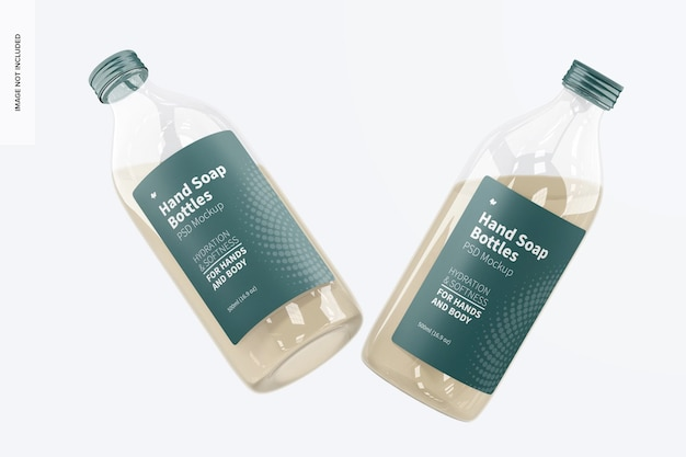 Maqueta de botellas transparentes de jabón de manos, flotante