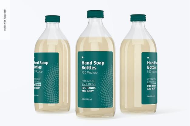 Maqueta de botellas transparentes de jabón de manos, vista frontal