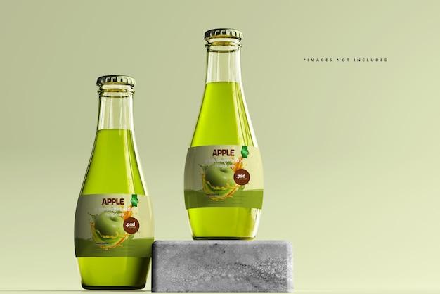 Maqueta de botellas de vidrio para bebidas