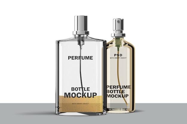 Maqueta de botellas de vidrio de perfume doble