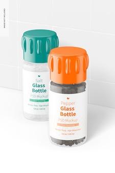 Maqueta de botellas de vidrio de sal y pimienta