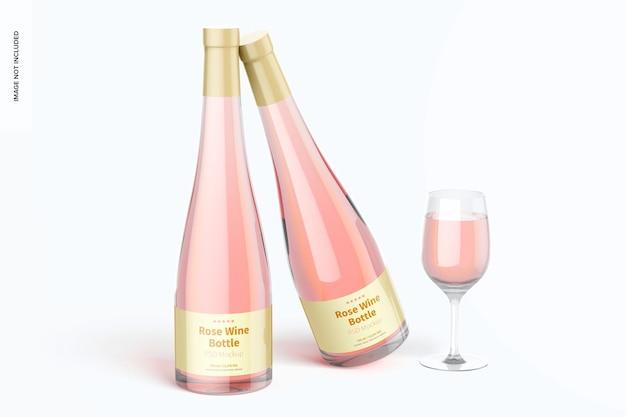 Maqueta de botellas de vino rosado, inclinada
