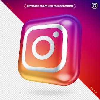 Maqueta de botón girado de la aplicación instagram 3d