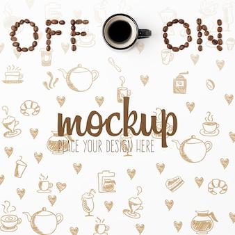 Maqueta de café de concepto de encendido y apagado