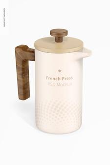 Maqueta de cafetera french press, vista frontal