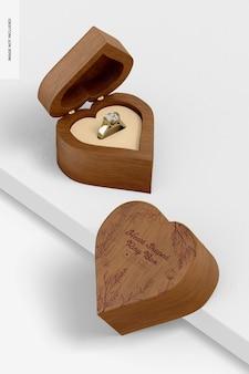 Maqueta de caja de anillo en forma de corazón, inclinada