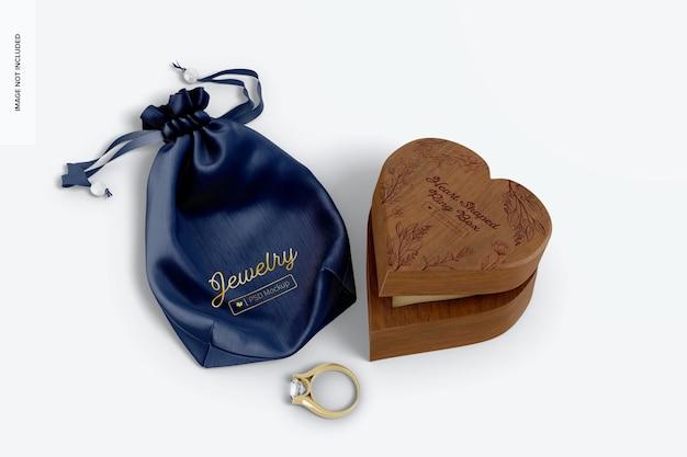 Maqueta de caja de anillo en forma de corazón, vista superior