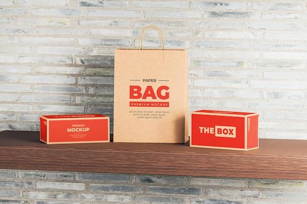 Maqueta caja bolsa papel marrón compras roja