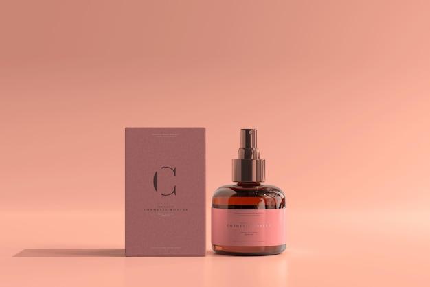Maqueta de caja y botella de spray cosmético de vidrio ámbar
