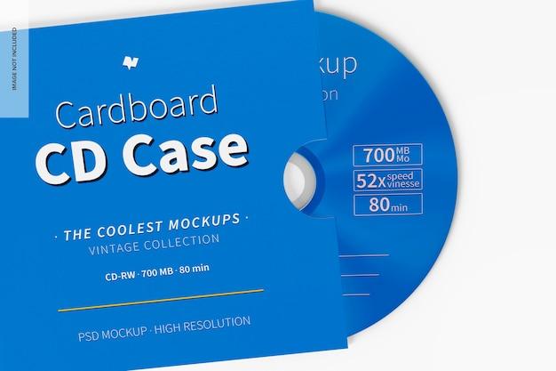 Maqueta de caja de cartón para cd, de cerca