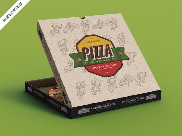 Maqueta de caja de cartón para pizza