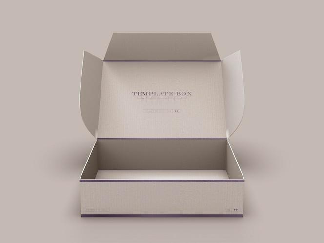 Maqueta de caja de cartón rectangular abierta