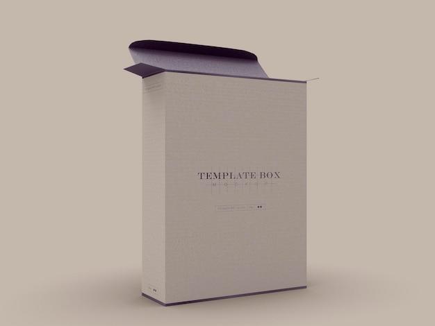 Maqueta de caja de cartón rectangular
