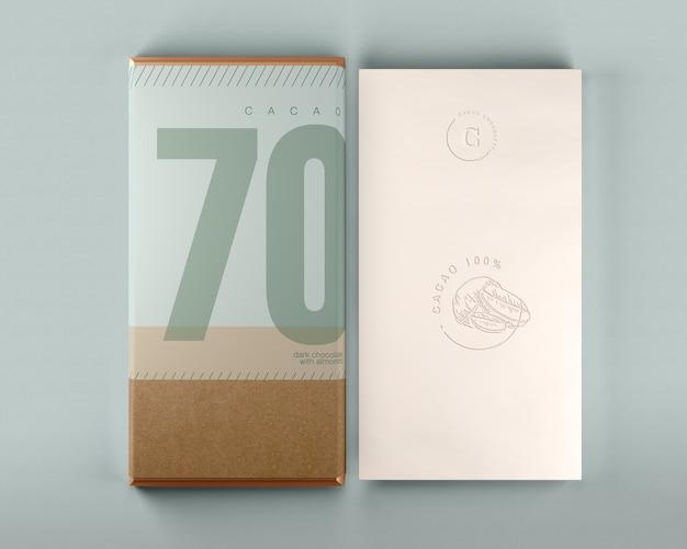 Maqueta de caja de chocolate y diseño de envoltura