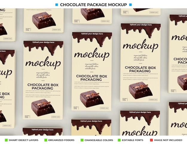Maqueta de caja de chocolate para paquete de producto.