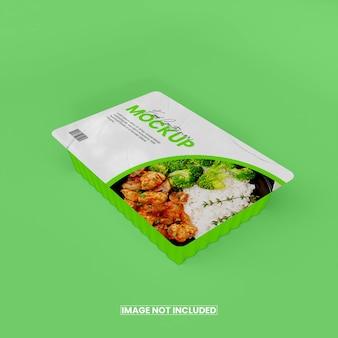 Maqueta de caja de comida de papel de aluminio 3d