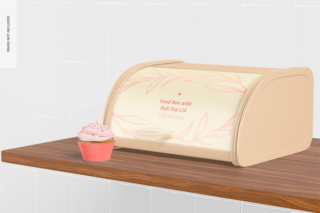 Maqueta de caja de comida con tapa enrollable, vista derecha